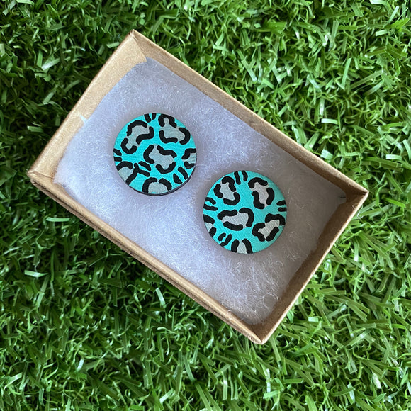 Statement Size - Silver Leopard Print Stud Earrings - Hand Painted Mint and Silver Leopard Print Earrings - Bamboo Studs - One of a Kind.
