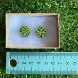 Lime Green Leopard Print Stud Earrings - Hand Painted Lime Green and Lavender Leopard Print Earrings - Bamboo Hexagon Studs - One of a Kind.