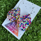 Stunning Clear Tear Drops featuring Polka Dot Confetti Scattered Throughout. Creating a beautiful visual effect. (Blue/Pink/Gold).