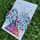 Stunning Clear Tear Drops featuring Polka Dot Confetti Scattered Throughout. Creating a beautiful visual effect. (White/Pink/Aqua).