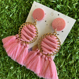 Pink and Gold Tassel Dangle Earrings - Stunning Pink Tassel Drop Earrings - finished with Pale Pink Glitter Tops. (woven)
