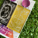 Tarot Card Earrings - Stunning Detailed Acrylic Tarot Card Dangle Earrings - featuring Purple Mirror Tops.