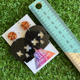 Skull Earrings - Large Black Glitter Acrylic Skull Dangle Statement Earrings - featuring Chunky Copper Foil Tops to make them POP!