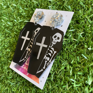 Coffin Earrings - Halloween Earrings - Skeleton and Coffin Statement Dangle Earrings - Featuring Metallic Silver Foil Tops to make them POP!