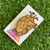Real Heart Brooch - Anatomical Heart Brooch - Detailed Laser Etched Timber Brooch.