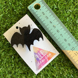 Bat Brooch - Glitter Black Bat Brooch - Laser Cut Acrylic Bat Brooch.