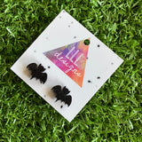 Barney Bat Stud Earrings. Sparkly Glitter Bat Earrings. Quirky Earrings. Fun Earrings. Life's too short to wear boring Jewellery.