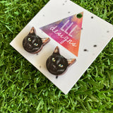 Black Cat Earrings - Itty Bitty Black Kitty Printed Timber Stud Earrings.