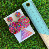 Rainbow Confetti Earrings - Rainbow Tastic Metallic Confetti Circle Dangle Earrings - So much Colour it's sure to Brighten your World!