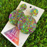 Green and Purple Iridescent Shatter Circle Dangle Earrings - Photos don't do these babes justice!