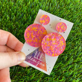 Polka Dot Confetti Earrings - Neon Polka Dot Confetti Circle Dangle Earrings - Featuring Pinks Purples and Pops of Orange!