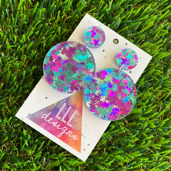 Leaf Confetti Earrings - Metallic Aqua and Purple Leaf Confetti Circle Dangle Earrings - The Iridescent Shine of the Confetti makes this these babes so special.