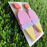 Ice Cream Earrings - Matte Pastel Layered Ice Cream Statement Dangle Earrings - Featuring an Adorable Etched Strawberry Top.