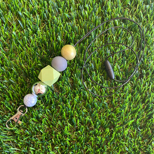 Lanyard - ID Holder - Designer Lanyard, featuring Light Green, Grey, Gold, Silver and Marble Tones. Style G