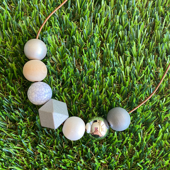 Leather Beaded Necklace - Handmade Lightweight Designer Necklace Made with Adjustable Sliding Knots - Featuring Silver, White, Marble and Timber Accents.
