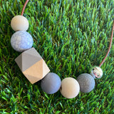 Leather Beaded Necklace - Handmade Lightweight Designer Necklace Made with Adjustable Sliding Knots - Featuring Timber, Grey, Mable and Granite Accents.
