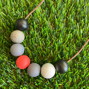 Leather Beaded Necklace - Handmade Lightweight Designer Necklace Made with Adjustable Sliding Knots - Featuring Red, Grey, Silver and Black Accents.