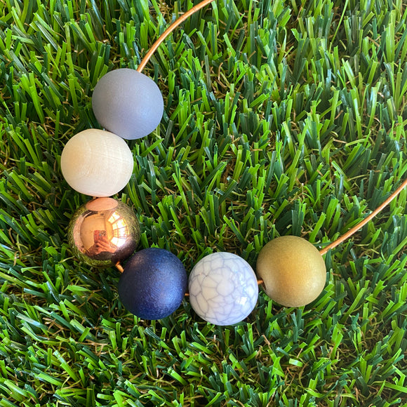 Leather Beaded Necklace - Handmade Lightweight Designer Necklace Made with Adjustable Sliding Knots - Featuring Navy, Rose Gold, Timber, Grey, Marble and Gold Accents.