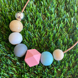 Leather Beaded Necklace - Handmade Lightweight Designer Necklace Made with Adjustable Sliding Knots - Featuring Pink, Blue, White, Grey and Timber Accents.