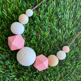 Leather Beaded Necklace - Handmade Lightweight Designer Necklace Made with Adjustable Sliding Knots - Featuring White, Pink and Timber Accents.