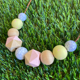 Leather Beaded Necklace - Handmade Lightweight Designer Necklace Made with Adjustable Sliding Knots - Featuring Timber, Marble, Pale Pink and Lemon Accents.