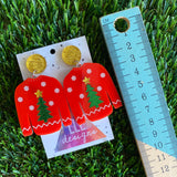 Ugly Christmas Sweater Earrings - Christmas Sweater Earrings - Red Sweater - Christmas Tree Pattern featuring a gold glitz star!