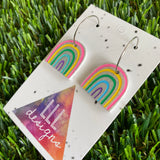 Rainbow Earrings - Glitter Rainbow Hoop Earrings - Adorable Silver Glitter Hand Painted Rainbow Hoop Earrings - In the Cute Colour Way.