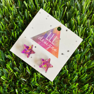Star Stud Earrings - Pink and Purple Holographic Glitz Star Stud Earrings - The Perfect little Pop of colour to brighten your day!