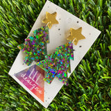 Christmas Tree Earrings - Green and Purple Holographic Glitz Christmas Trees with Gold Mirror Star Tops.
