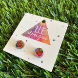 Rainbow Metallic Glitz Dot Stud Earrings!