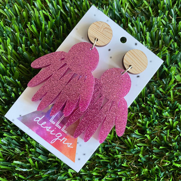 Glitter Dream-catcher Dangle Earrings. (dark pink)