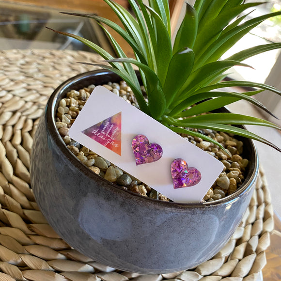 Love Heart Earrings. Holographic Purple & Pink Shatter Love Heart Stud Earrings.