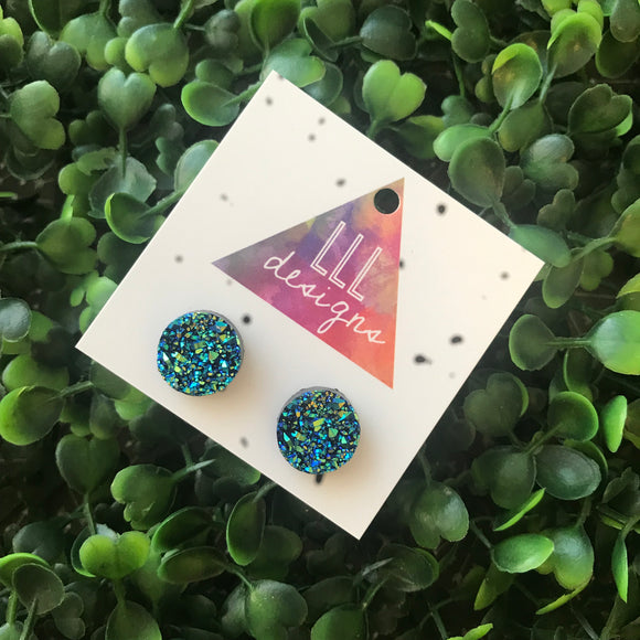 Holographic Blue Faux Druzy Stud Earrings.