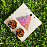 Roarsome Leopard Print - Printed Timber Stud Earrings.