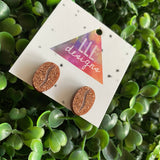 Coffee Bean Stud Earrings. Super Cute Glitter Copper Coffee Bean Stud Earrings With Etched Detail.