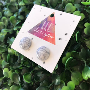 White and Grey Marble Stud Earrings.