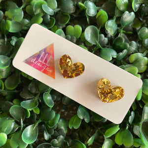 Gold Confetti Luxe Love Heart Stud Earrings.