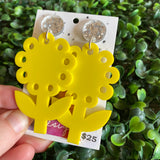Sunflower Statement Dangle Earrings - Giant Yellow Sunflowers, Perfect to Brighten any Day :)