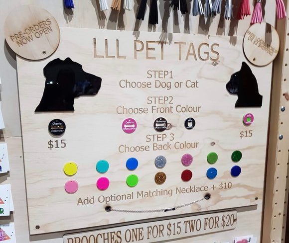 Custom Made Designer Pet Tags with Optional Matching Necklace for you!