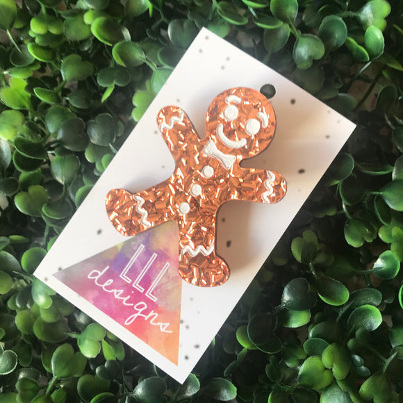 Gingerbread Man Glitzy Christmas Brooch.