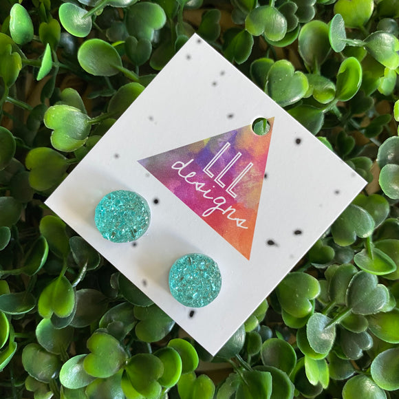 Stunning Mint Faux Druzy Stud Earrings.