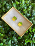 Succulent Earrings - Detailed Hand Painted Bamboo Earrings - Packaged in Recycled Branded Cardboard Gift Box - Available in 3 Stunning Colours.