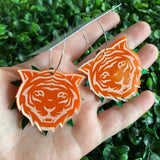 Tiger Earrings. Orange Layered Tiger Hoops. With Multi Functionality!