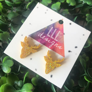 Reindeer Stud Earrings in Glorious Gold Glitter!