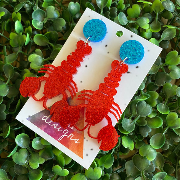 Living Large Lobster Statement Dangles - Medium Size :)
