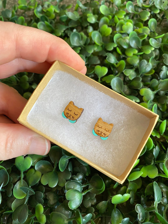 Sleepy Kitty Earrings - Detailed Hand Painted Bamboo Earrings - Available in 2 Stunning Colours.