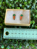 Carrot Earrings - Detailed Hand Painted Bamboo Earrings.