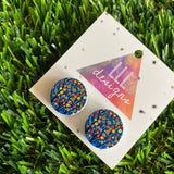 In Bloom Rainbow Trees - Printed Timber Stud Earrings.