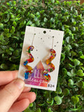 Rainbow Metallic Glitz Wiggle Statement Dangle Earrings on 20mm Stainless Steel Hoops. (lge)