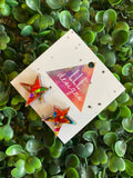 Rainbow Metallic Glitz Star Statement Stud Earrings (fancy star)